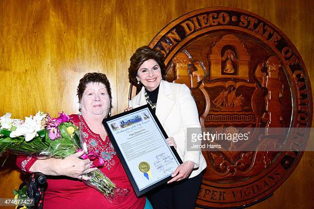 Attorney Gloria Allred and Peggy Shannon who was a victim of sexual harassment by former Mayor Bob Filner hold a press conference at San Diego City...