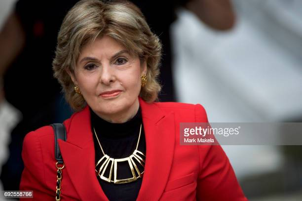 Attorney Gloria Allred arrives at the Montgomery County Courthouse before the opening of the sexual assault trial of Bill Cosby June 5 2017 in...