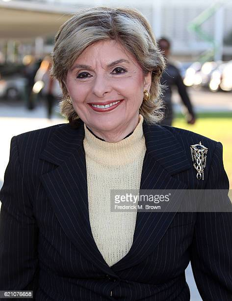 Attorney Gloria Allred arrives for the court hearing argument in lawsuit on behalf of Judy Huth versus Bill Cosby at the Santa Monica Courthouse on...