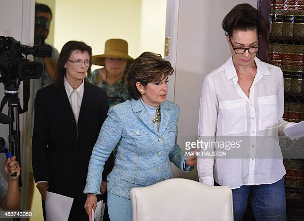 Attorney Gloria Allred arrives with three new alleged sexual assault victims of comedian Bill Cosby Linda Ridgeway Whitedeer Colleen Hughes and...