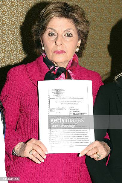 Attorney Gloria Allred attends a press conference to announce the filing of a lawsuit against Spirit Airlines at the Omni Berkshire Place Hotel on...