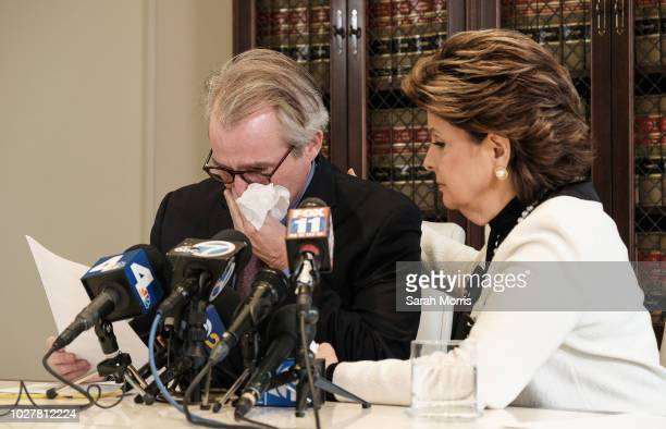 Attorney Gloria Allred holds a press conference with client Ken Fox, alleged victim of Redmond O'Neal, on September 6, 2018 in Los Angeles,...