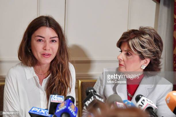 Attorney Gloria Allred holds a press conference with new alleged victim of Harvey Weinstein Mimi Haleyi at Lotte New York Palace on October 24 2017...