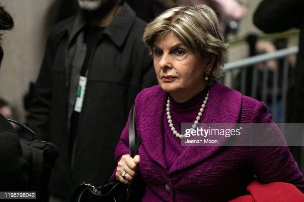 Attorney Gloria Allred leaves at New York City Criminal Court for the continuation of Harvey Weinstein's trial on January 24, 2020 in New York City....