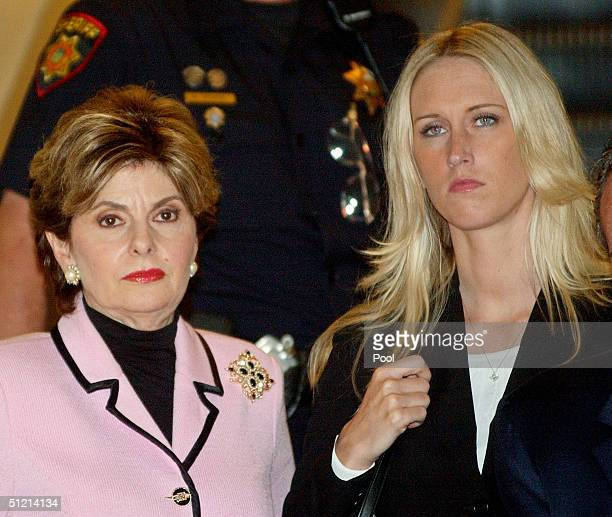 Attorney Gloria Allred leaves the courtroom with her client Amber Frey after Frey was questioned by attorney Mark Geragos during the Scott Peterson...