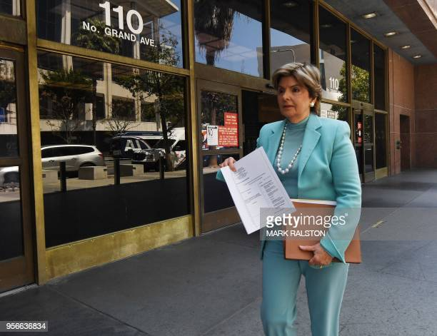 Attorney Gloria Allred leaves the Los Angeles County Superior Court in Los Angeles California on May 9 2018 after filing a lawsuit on behalf of a...