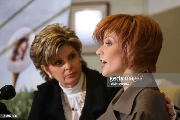 Attorney Gloria Allred looks on as former adult film actress Veronica SiwikDaniels who claims to have had a longterm intimate relationship with golf...
