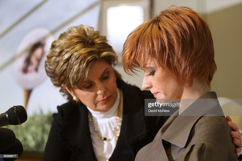 Attorney Gloria Allred (L) offers encouragement to former adult film actress Veronica Siwik-Daniels (aka Joslyn James), who claims to have had a long-term intimate relationship with golf icon Tiger Woods, as she begins a statement during a press conference at the offices of Allred on February 3, 2010 in Los Angeles, California. Allred and Siwik-Daniels are calling for the end of the production of golf balls bearing an image of Siwik in the product series, 'Tail of the Tiger - The Mistress Collection'. Allred argues that putting the face of a woman on a ball which golfers hit with full force could result in marks on the image that might resemble bruises and may lead to inappropriate jokes about hitting women. James says that she loved Woods and had reason to believe that he loved her. She has been in seclusion and has not talked to the press until now.