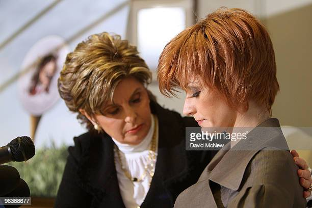 Attorney Gloria Allred offers encouragement to former adult film actress Veronica SiwikDaniels who claims to have had a longterm intimate...