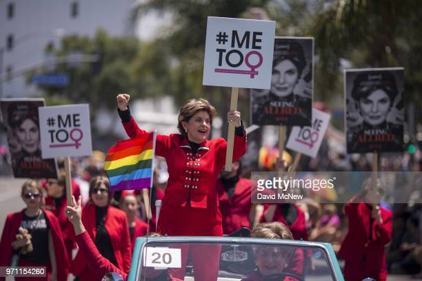 Attorney Gloria Allred participates in the 48th annual LA Pride Parade on June 10 in the Hollywood section of Los Angeles and West Hollywood...