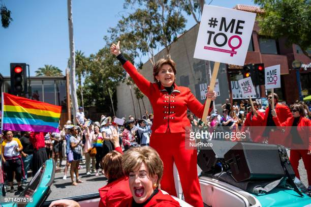 Attorney Gloria Allred participates in the LA Pride Parade in West Hollywood California on June 10 2018 The annual LGBTQ celebration drew an...