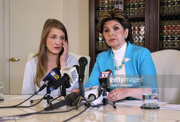 Attorney Gloria Allred, representing her client Shelby Pfeffer, speaks during a press conference at her office July 7, 2016 in Los Angeles,...