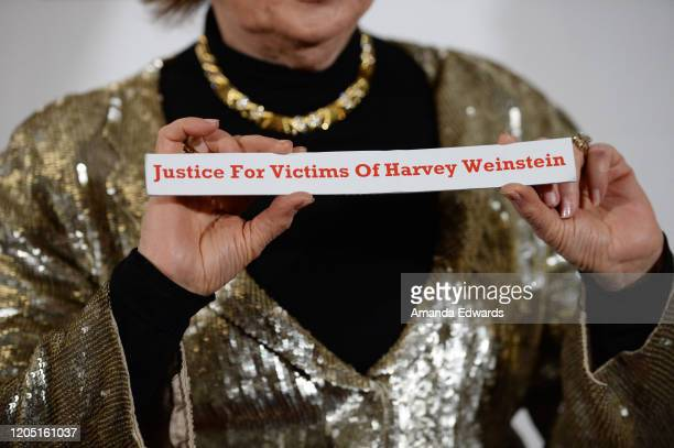 Attorney Gloria Allred sign detail attends the 5th Annual Roger Neal and Maryanne Lai Oscar Viewing DinnerIcon Awards and After Party at The...