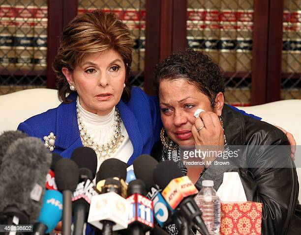 Attorney Gloria Allred speaks at a press conference with Chelan an alleged victim of Bill Cosby on December 3 2014 in Los Angeles California Cosby...