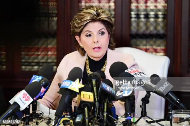 Attorney Gloria Allred speaks during a press conference about her client's allegations of sexual harassment by Harvey Weinstein at Allred's office...