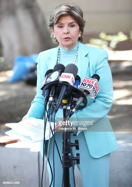 Attorney Gloria Allred speaks during a press conference for a women who alleges she was sexually assaulted at singer Chris Brown home at Los Angeles...