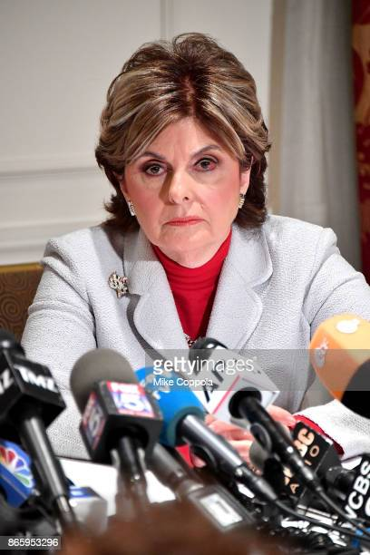 Attorney Gloria Allred speaks during a press conference held for new alleged victim of Harvey Weinstein, Mimi Haleyi at Lotte New York Palace on...