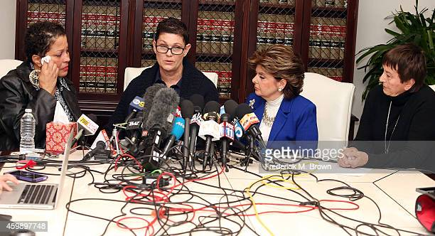 Attorney Gloria Allred speaks during a press conference with alleged victims of Bill Cosby Chelan Beth Ferrie and Helen Hayes on December 3 2014 in...