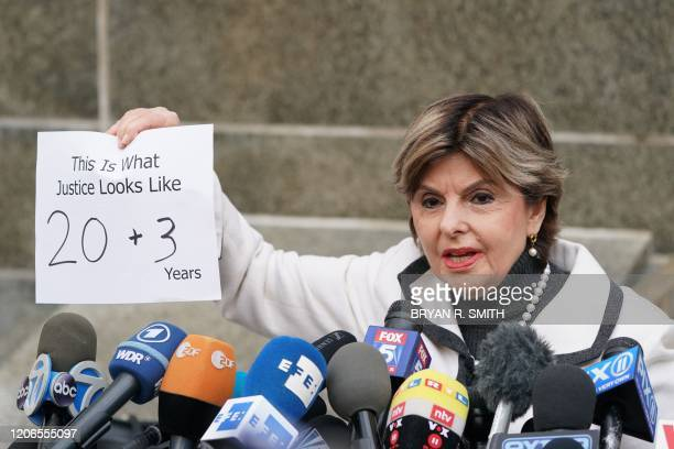 Attorney Gloria Allred speaks outside the courthouse following the sentencing of movie producer Harvey Weinstein at Manhattan Criminal Court on March...