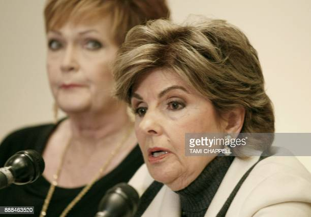 Attorney Gloria Allred speaks to the media with her client Beverly Young Nelson at a news conference where she presents evidence that Alabama US...