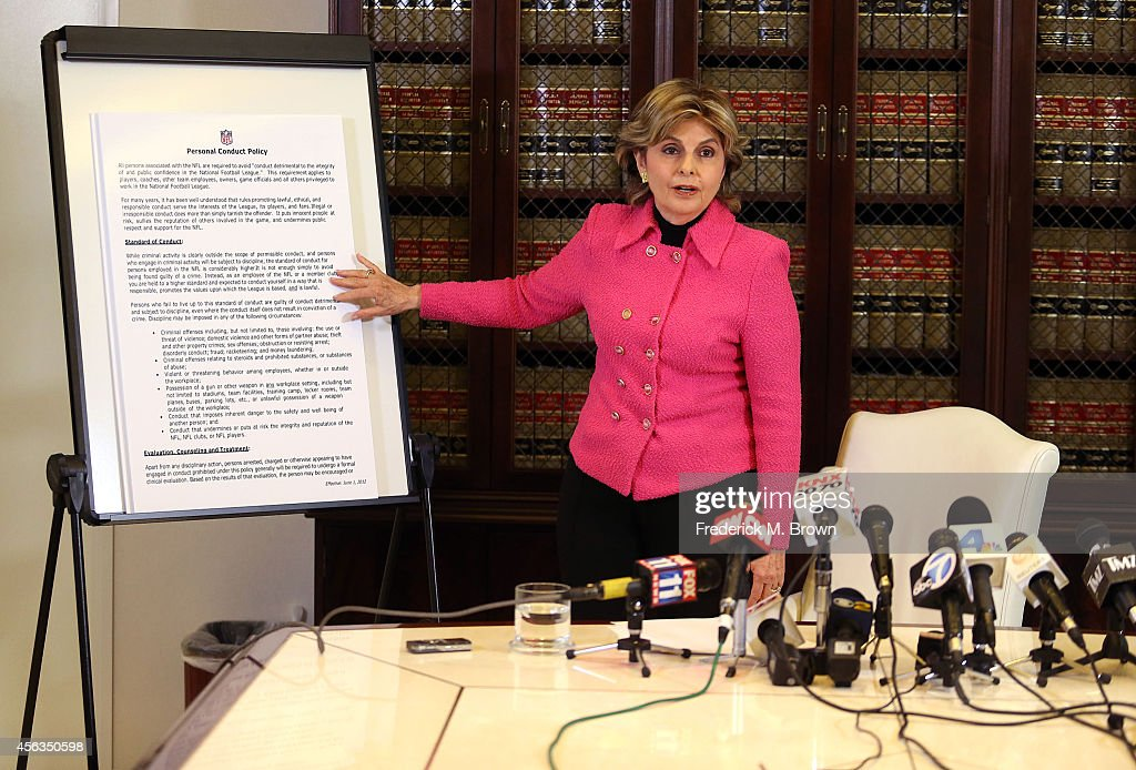 Attorney Gloria Allred speaks to the press about an alleged
