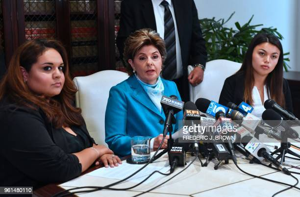 Attorney Gloria Allred speaks while flanked by current University of Southern California student Daniella Mohazab and former USC student Angela...