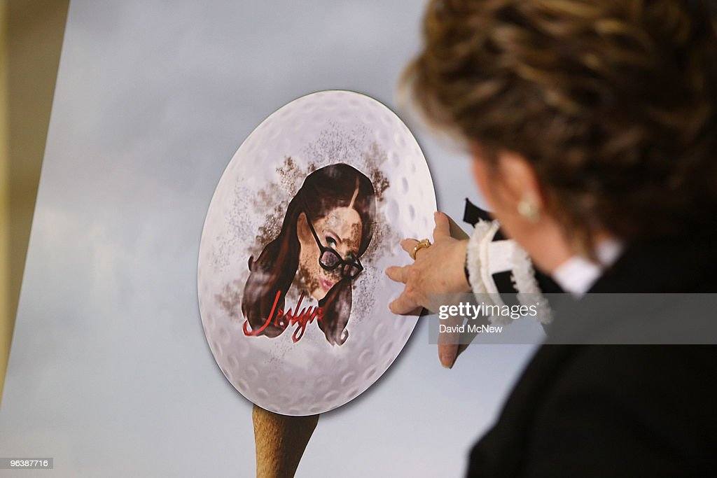 Attorney Gloria Allred uses a golf golf cut-out to simulate how a club hitting a ball with the face of a woman could leave marks that look like bruises during a press conference with former adult film actress Veronica Siwik-Daniels (aka Joslyn James), who claims to have had a long-term intimate relationship with golf icon Tiger Woods, at the offices of Allred on February 3, 2010 in Los Angeles, California. Allred and Siwik-Daniels are calling for the end of the production of golf balls bearing an image of Siwik in the product series, 'Tail of the Tiger - The Mistress Collection'. Allred argues that putting the face of a woman on a ball which golfers hit with full force could result in marks on the image that might resemble bruises and may lead to inappropriate jokes about hitting women. James says that she loved Woods and had reason to believe that he loved her. She has been in seclusion and has not talked to the press until now.