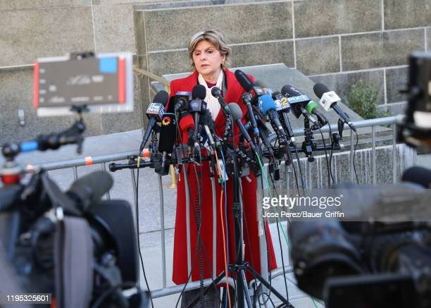 Attorney Gloria Allred, who represents several of Harvey Weinstein's accusers, is seen outside the Manhattan Court House on January 22, 2020 in New...