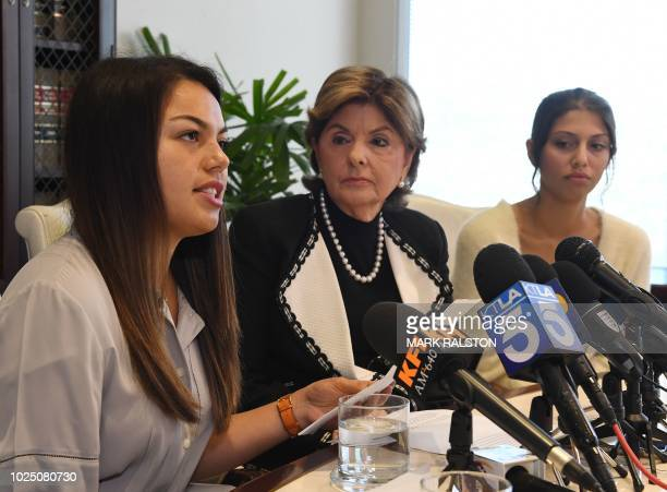 Attorney Gloria Allred with University of Southern California students Daniella Mohazab and Anika Narayanan announce that the medical license of USC...