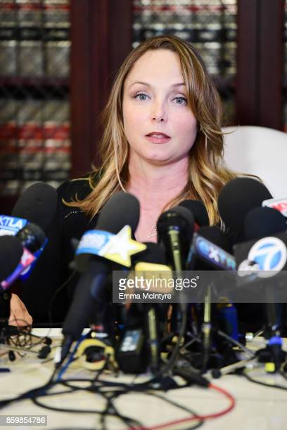 Attorney Gloria Allred's client Louisette Geiss speak during a press conference about her allegations of sexual harassment by Harvey Weinstein at...