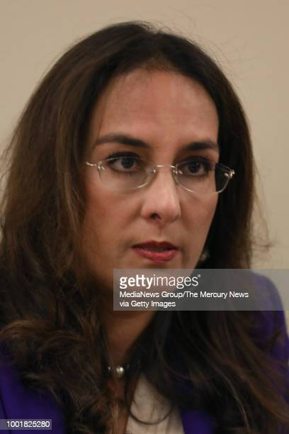 Attorney Harmeet Dhillon speaks at a press conference Monday Jan 8 in San Francisco Calif announcing a lawsuit against Google by former employee...