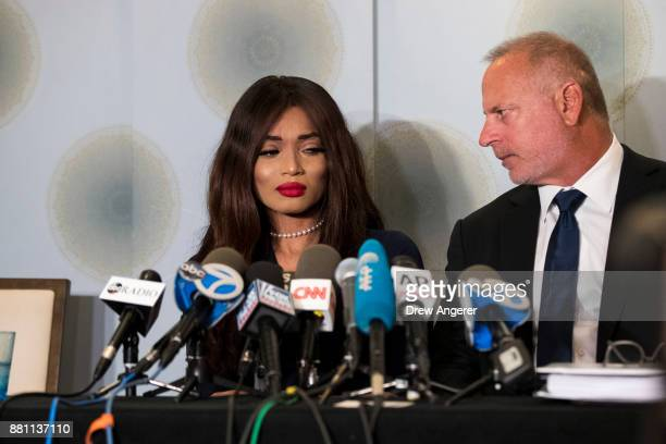Attorney Jeff Herman looks on as actress Kadian Noble discusses her experiences with Harvey Weinstein during a press conference to announce the...
