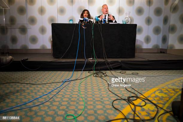 Attorney Jeff Herman speaks as actress Kadian Noble looks on during a press conference to announce the filing of a lawsuit against Harvey Weinstein...