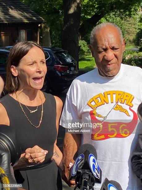 Attorney Jennifer Bonjean and Bill Cosby speak outside of Bill Cosby's home on June 30, 2021 in Cheltenham, Pennsylvania. Bill Cosby was released...