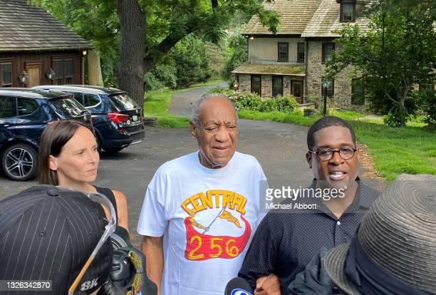 Attorney Jennifer Bonjean, Bill Cosby, and spokesperson Andrew Wyatt speak outside of Bill Cosby's home on June 30, 2021 in Cheltenham, Pennsylvania....