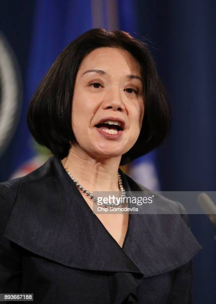 S Attorney Jessie Kong Liu speaks during a news conference at the Department of Justice December 15 2017 in Washington DC Attorney General Jeff...
