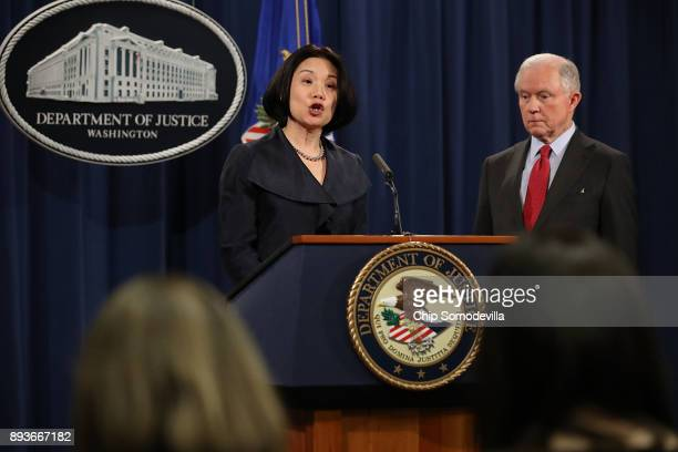 S Attorney Jessie Kong Liu speaks during a news conference with Attorney General Jeff Sessions at the Department of Justice December 15 2017 in...