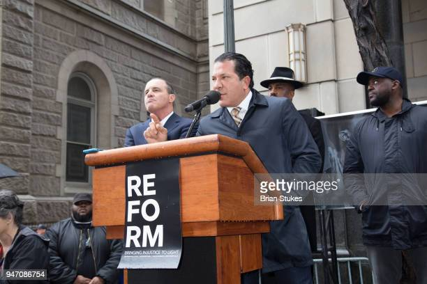 Attorney Joe Tacopina attends a rally protesting the imprisionment of Meek Mill outside the Philadelphia Criminal Justice Center during the rapper's...
