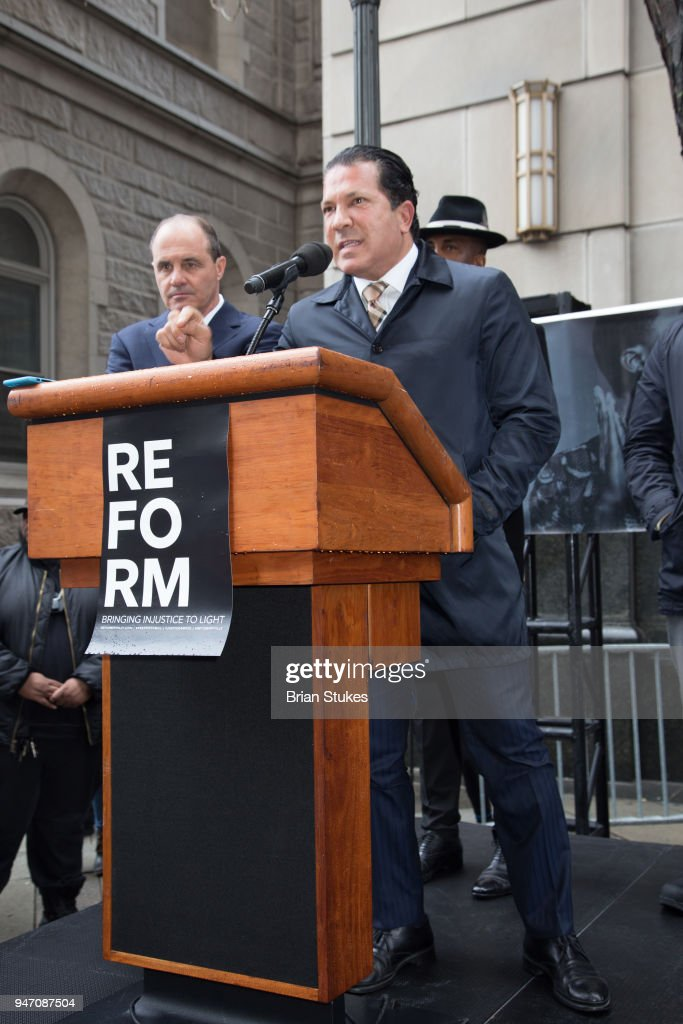 Attorney Joe Tacopina attends a rally protesting the imprisionment of Meek Mill outside the Philadelphia Criminal Justice Center during the rapper's status hearing on April 16, 2018 in Philadelphia, Pennsylvania.
