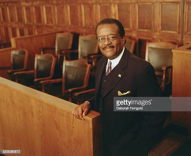 Attorney Johnnie Cochran in Jury Box