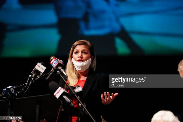 Attorney Kaitlyn Statile speaks on the behalf of the Don Lewis family during a news conference at Riverhills Church of God on August 10 2020 in Tampa...