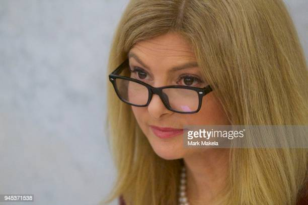 Attorney Lisa Bloom arrives at the Montgomery County Courthouse during the fourth day of Bill Cosby's sexual assault retrial on April 12 2018 in...