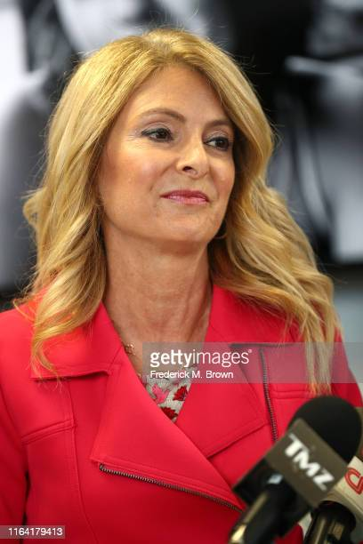 Attorney Lisa Bloom speaks during a press conference with her client Janice Dickinson to announce a settlement in their defamation lawsuit against...