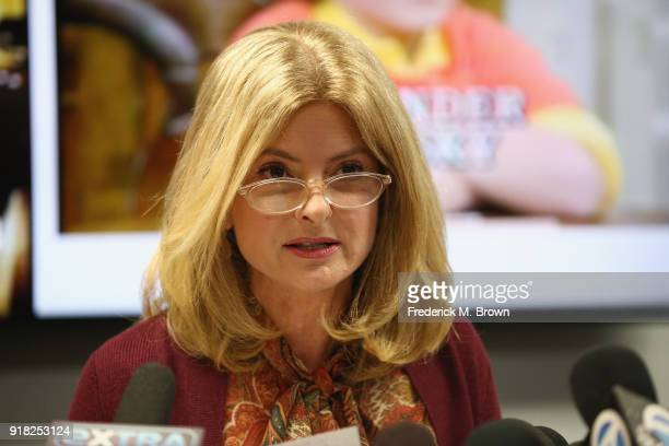 Attorney Lisa Bloom speaks during a press conference with her client Alexander Polinsky regarding sexual harassment allegations against Scott Baio at...