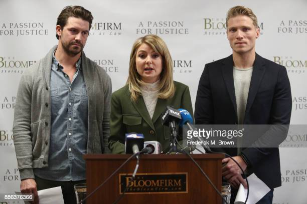 Attorney Lisa Bloom speaks during a press conference with her clients models Mark Ricketson and Jason Boyce who are accusing photographer Bruce Weber...