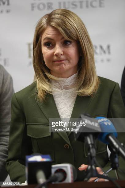 Attorney Lisa Bloom speaks during a press conference with her clients models Jason Boyce and Mark Ricketson who are accusing photographer Bruce Weber...