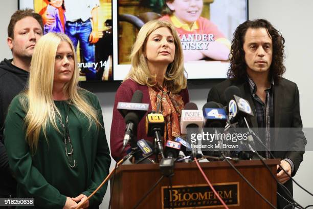 Attorney Lisa Bloom speaks during a press conference with Nicole Eggert and Alexander Polinsky regarding sexual harassment allegations against Scott...