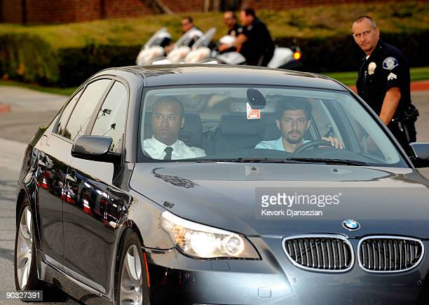 Attorney Londell McMillan arrives at Michael Jackson's funeral service held at Glendale Forest Lawn Memorial Park on September 3 2009 in Glendale...