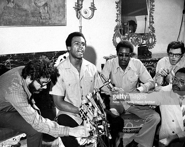 Attorney Mark Lane with Black Panther Party Minister of Defense Huey Newton and Chief of Staff David Hillard during press conference at Jane Fonda's...