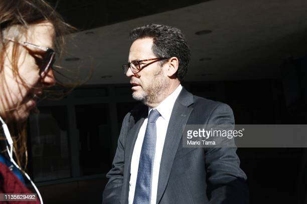 Attorney Mark S Harris is seen leaving the Edward R Roybal Federal Building and United States Courthouse on March 13 2019 in Los Angeles California...